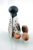 Raspel und Muskatnuts stockbilder