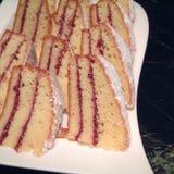 Rasperries cake slices. Raspberries cake served for breakfast Royalty Free Stock Photos