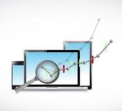 rassegna del grafico commerciale su elettronica Fotografie Stock