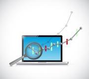 rassegna del grafico commerciale sul computer Immagine Stock
