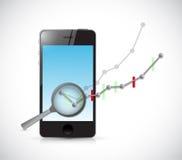 rassegna del grafico commerciale sul telefono Immagine Stock Libera da Diritti