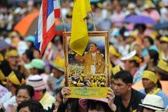 Rassemblement anti-gouvernement de groupe de l'armée populaire à Bangkok Images libres de droits