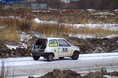 Rassemblement-croix de moteur d'hiver dans Tver Photographie stock libre de droits