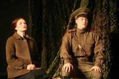 Rassemblement d'amants Soldat russe et son amie Portrait d'un soldat russe Photo stock
