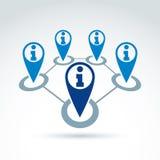 Rassemblement de l'information et icône sociaux de thème d'échange Images libres de droits