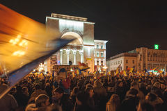 Rassemblement de Roumains dans la plus grande protestation d'anti-corruption Images libres de droits