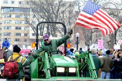 Rassemblement de Tractorcade à Madison le Wisconsin Images stock