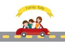 Rassemblement de voiture de voyage avec la voiture familiale sur la route, bande dessinée Photographie stock libre de droits