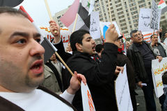 Rassemblement des préposés du service de la communauté syrienne. Photo libre de droits
