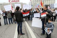Rassemblement des préposés du service de la communauté syrienne. Photos stock