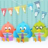 Rassemblement social d'oiseau bleu Photographie stock libre de droits