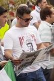 Rassemblement syrien dans Trafalgar Square pour soutenir des médecins sous le feu Photographie stock