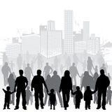 Rassemblez les silhouettes de famille Images libres de droits