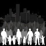 Rassemblez les silhouettes de famille Image stock