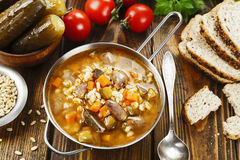 Rassolnik with chicken giblets Stock Image