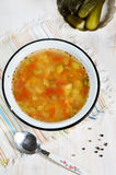 Rassolnik soup with pearl barley and cucumbers Royalty Free Stock Photo