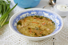 Rassolnik. Traditional russian soup. Russian traditional soup with pickled cucumber Royalty Free Stock Photography