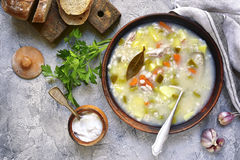 Rassolnik - traditional russian soup with pickled cucumber and c Stock Photo