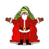 Rasta圣诞老人愿望 大红色大袋大麻 袋子大麻 P 图库摄影