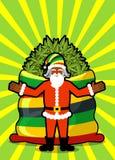 Rasta圣诞老人愿望 大红色大袋大麻 袋子大麻 P 免版税库存照片