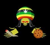 Rasta śmierć oferuje ciastka, złącze i spliff Rastafarian drea royalty ilustracja