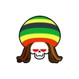 Rasta śmierć Rastafarian dreadlocks czaszka i beret ponury żniwiarz ilustracja wektor