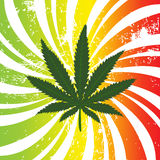Rasta background with marijuana leaf Stock Images