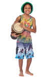 Rasta boy with conga Royalty Free Stock Photo