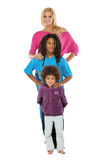 Rasta boy with his sisters isolated on white Royalty Free Stock Photos