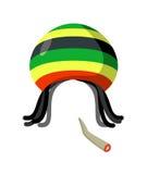 Rasta Cap with dreadlocks on white background. Spliff  smoking d Royalty Free Stock Photos