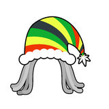 Rasta cap for Santa Claus. Rastaman dreadlocks festive hat. Regg Stock Photos