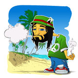 Rasta character on a beach-background. Stock Image