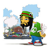 Rasta character on a city-background. Stock Image