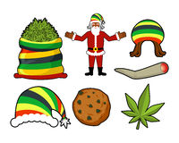 Rasta Christmas icons set. Santa Claus and Big sack hemp. bag of. Marijuana. pile of green cannabis. Large joint or spliff. Smoking dope. Cheerful grandfather Royalty Free Stock Photo