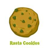 Rasta cookie. Marijuana and biscuit. Reggie food. Narcotic sweet. S. Jamaican Sweets. Rastafarians treat Stock Image