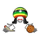 Rasta death offers cookies and joint or spliff. Rastafarian drea Royalty Free Stock Photo