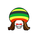 Rasta death. Rastafarian dreadlocks skull and beret. Grim Reaper Stock Photography