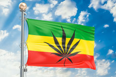 Rasta Flag, Cannabis leaf on Rastafarian flag. 3D rendering Stock Image