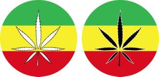 Rasta Flag with Marijuana Leaf sign Stock Images