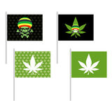 Rasta flags set. Banner for addicts of Jamaica. Green Skull and Stock Photos