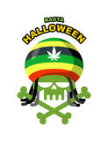 Rasta Halloween Night. Skull addict with dreadlocks and bones. C. Olored Rasta Cap with leaf marihuanny, hemp. Vector illustration logo for holiday Royalty Free Stock Photography