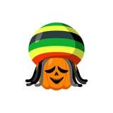 Rasta Halloween. Rastaman hat and dreadlocks. Pumpkin for Rastaf Stock Images