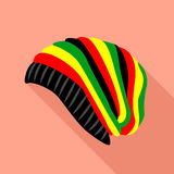 Rasta hat icon, flat style Royalty Free Stock Photos