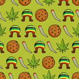 Rasta icons seamless pattern. Green leaf of marijuana and cookie Stock Images