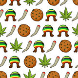 Rasta icons seamless pattern. Green leaf of marijuana and cookie Royalty Free Stock Photos