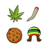 Rasta ikony ustawiać Zielony liść marihuana i ciastko rastafarian royalty ilustracja