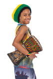 Rasta kid with conga Royalty Free Stock Photography