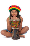 Rasta kid sitting on the floor Royalty Free Stock Photo