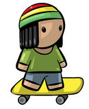 Rasta Kid on Skateboard Royalty Free Stock Photography