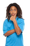 Rasta kid thinking in studio Royalty Free Stock Image